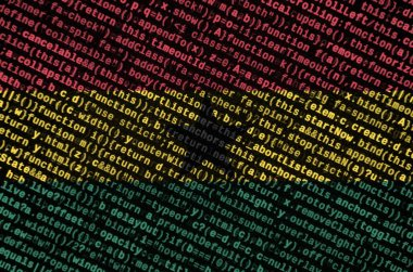 Ghana flag  is depicted on the screen with the program code. The concept of modern technology and site development.