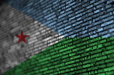 Djibouti flag  is depicted on the screen with the program code. The concept of modern technology and site development.
