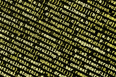 Big data and Internet of things trend. IT specialist workplace. Website HTML Code on the Laptop Display Closeup Photo. Big data storage and cloud computing representation