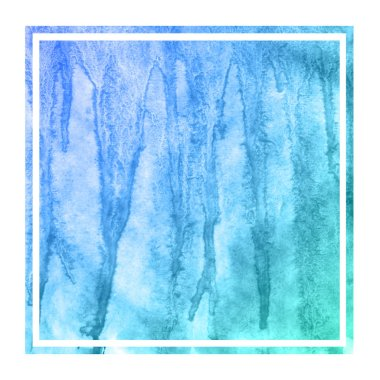 Cold blue hand drawn watercolor rectangular frame background texture with stains. Modern design element