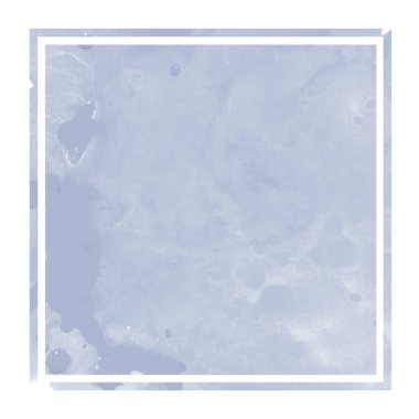 Dark blue hand drawn watercolor rectangular frame background texture with stains. Modern design element