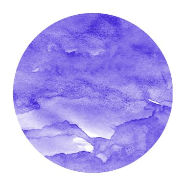 Violet hand drawn watercolor circular frame background texture with stains. Modern design element