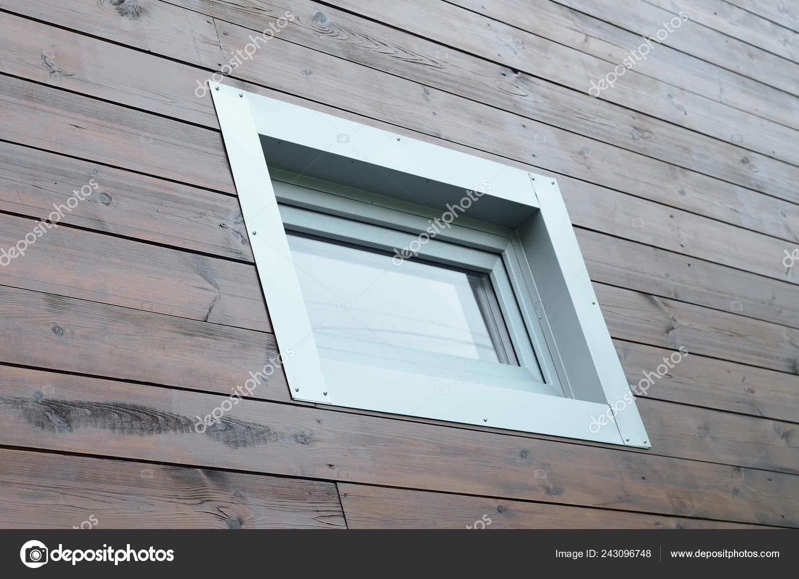 Ventanas Pvc Stock.Plastic Pvc Window Modern Passive Wooden House Facade Wall