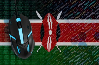Kenya flag  and modern backlit computer mouse. The concept of digital threat, illegal actions on the Internet