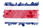 Fotografie Costa Rica vlajka je líčen v tekutý akvarel styl izolovaných na bílém pozadí. Neopatrný Barva stínování s obrazem státní vlajky. Den nezávislosti nápis