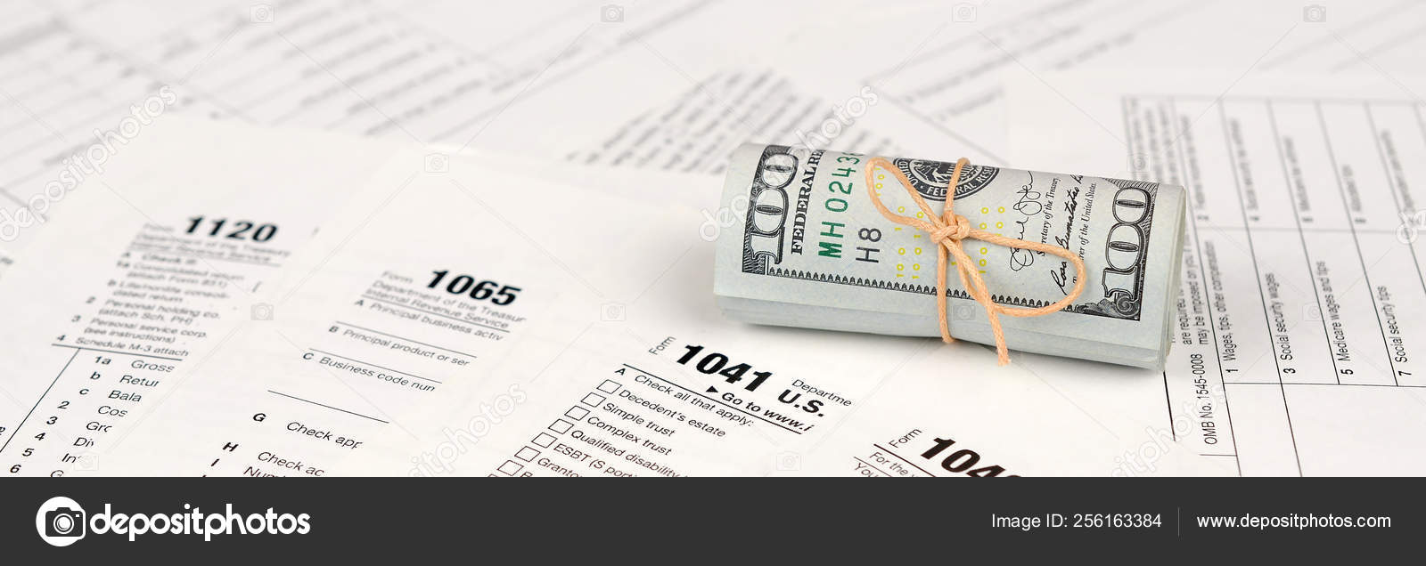 Tax Forms Lies Roll Hundred Dollar Bills Income Tax Return — Stock