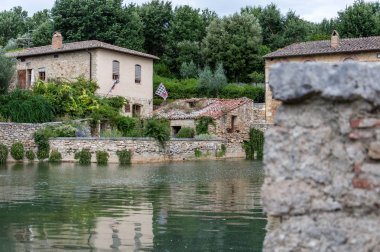 San Quirico d'Orcia, Tuscany, Italy / 24th July 2016 / Scenic view of medieval village of Bagno Vignoni