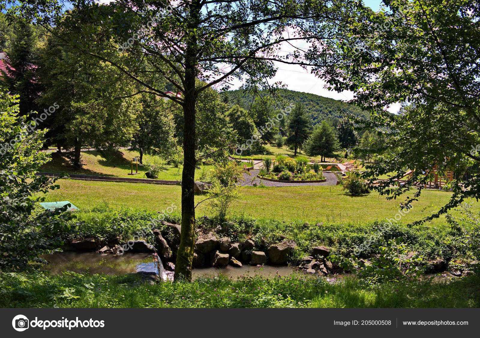 Decorative Stone River Rapids On The Background Of The