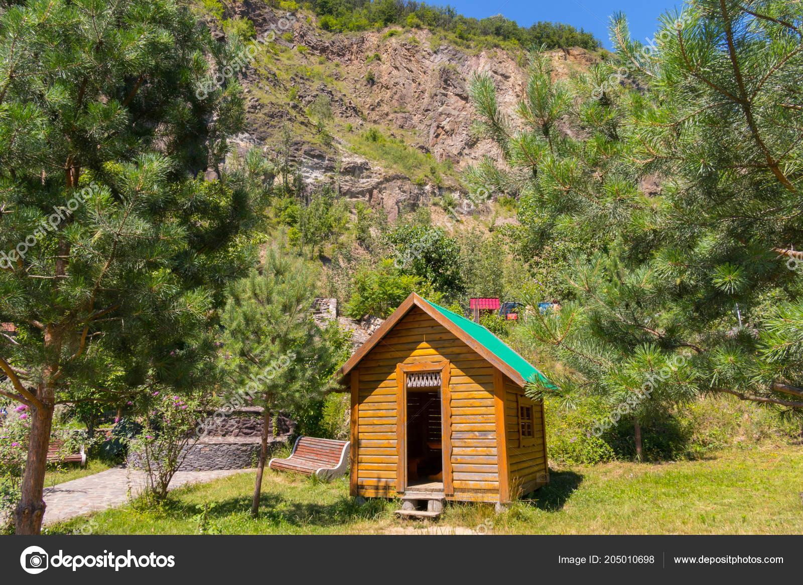 Ein Kleines Holzhaus Mit Einem Grunen Dach Auf Dem