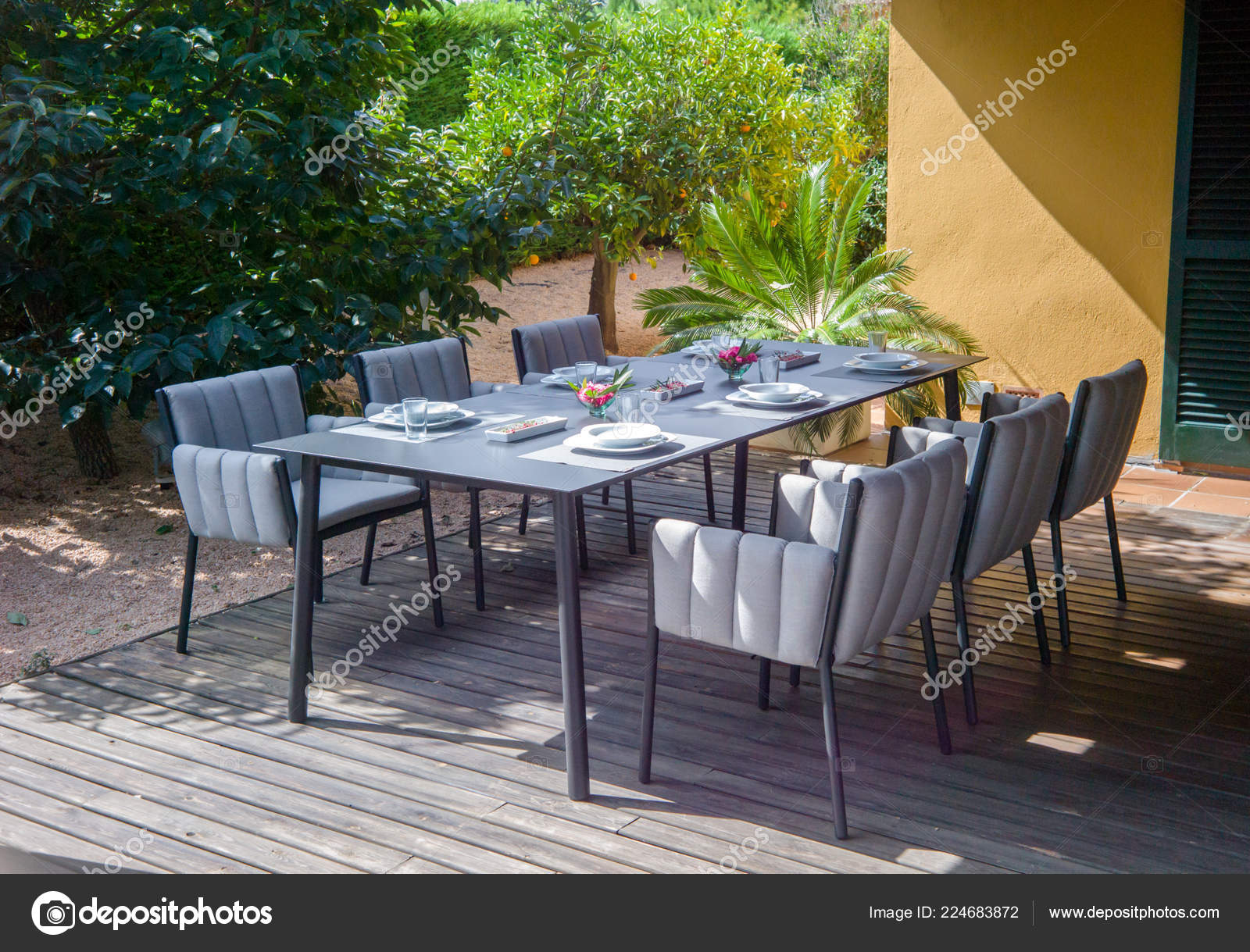 Phenomenal Garden Dining Table Chairs Stock Photo C Alexdancer 224683872 Onthecornerstone Fun Painted Chair Ideas Images Onthecornerstoneorg