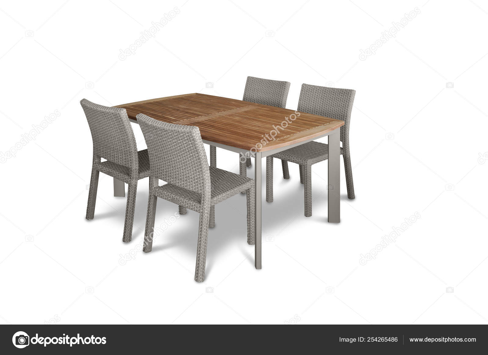 Enjoyable Garden Dining Table Chairs White Background Stock Photo Onthecornerstone Fun Painted Chair Ideas Images Onthecornerstoneorg