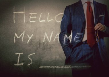Self Introduction - Hello, My name is ... written on a blackboard with businessman stock vector