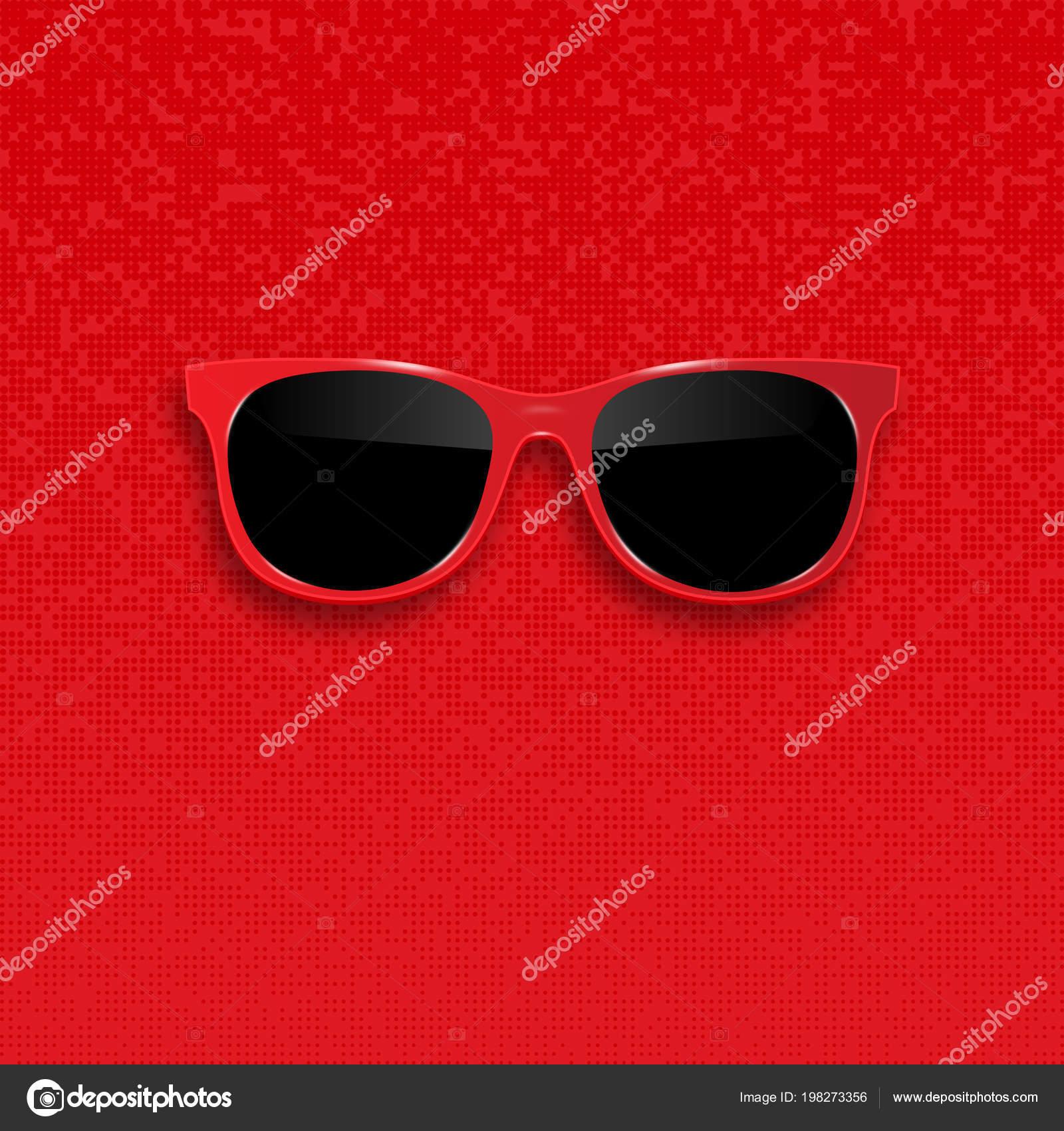 e7e1ef0ff5278e Rode hipster zonnebril met donker glas — Stockvector © AngelMax ...