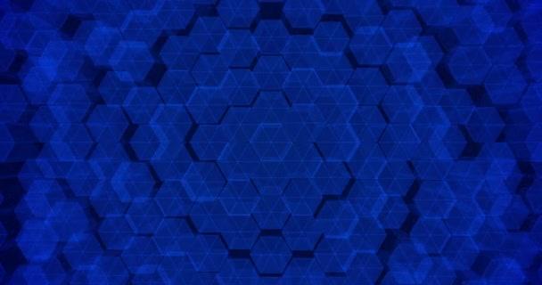 Abstrakte geometrische blaue sechseckige Wandstruktur. 4k nahtlose Schleife. 3D-Darstellung.