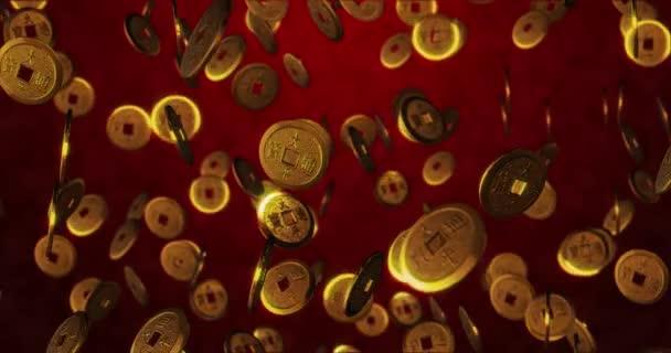 Arany kínai érmék piros háttérrel. 3D renderelés