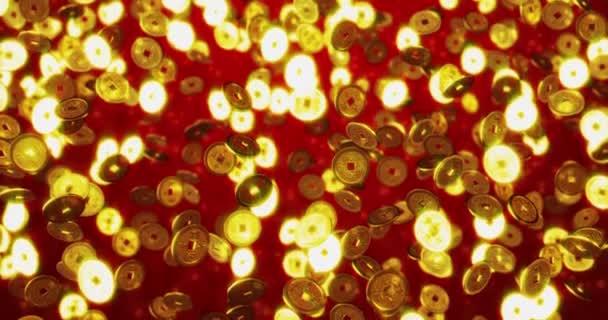 Arany kínai érmék. 3D renderelés