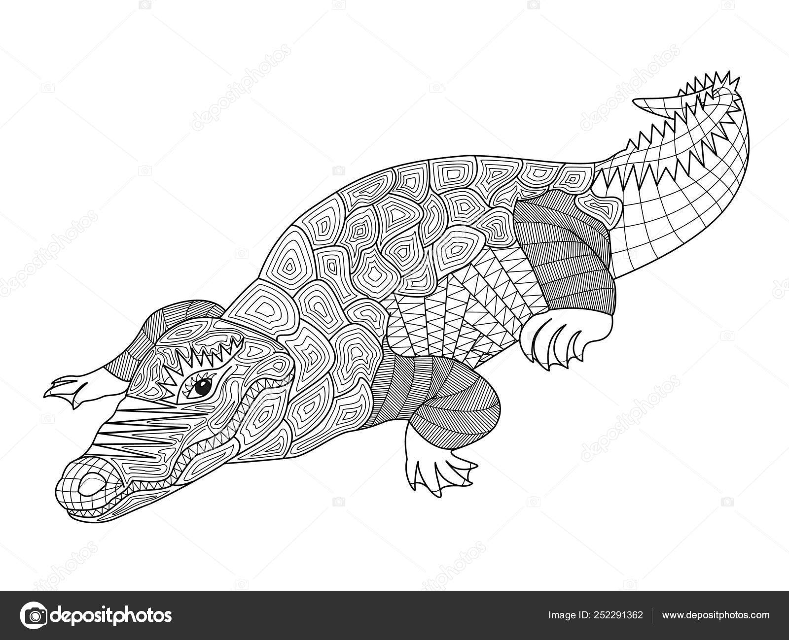 Zentangle crocodile coloring pages for adults and children ...