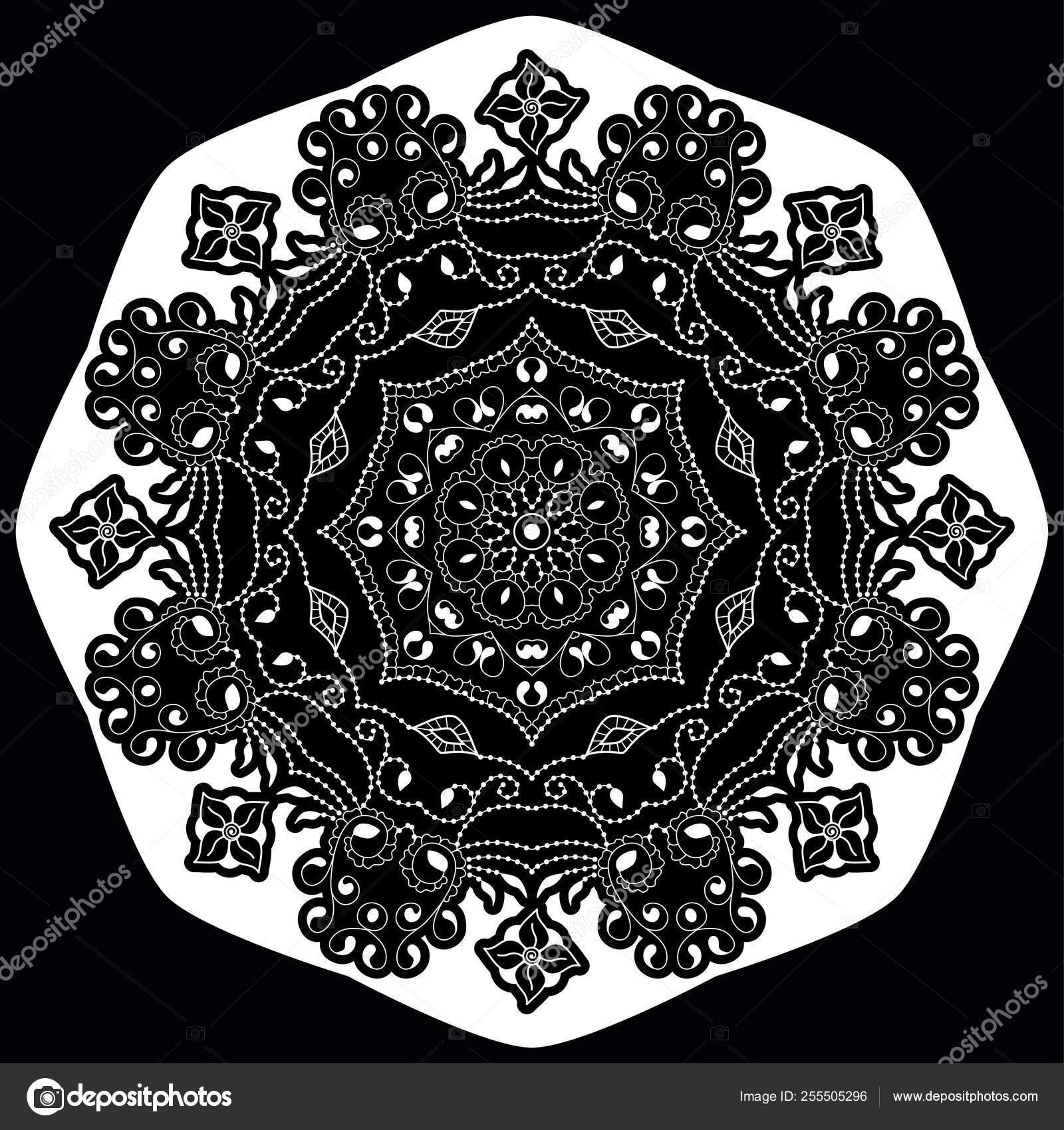 Zwarte En Witte Ronde Etnische Mandala Vector Illustratie