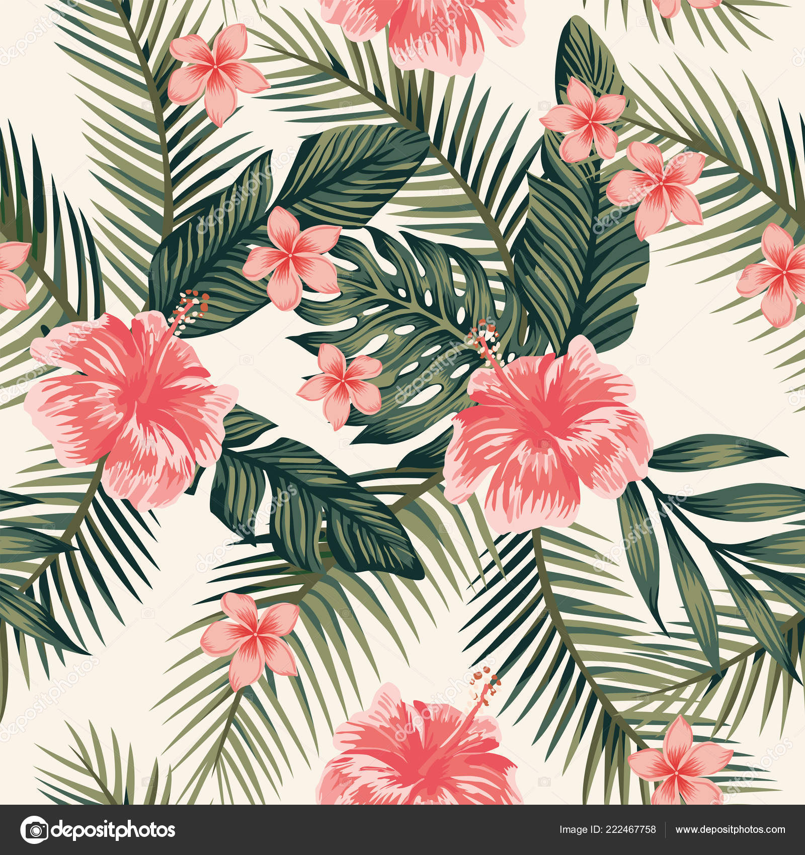 Beach Cheerful Wallpaper Hibiscus Plumeria Tropical Leaves Seamless Vector Pattern Stock Vector C Berry2046 222467758