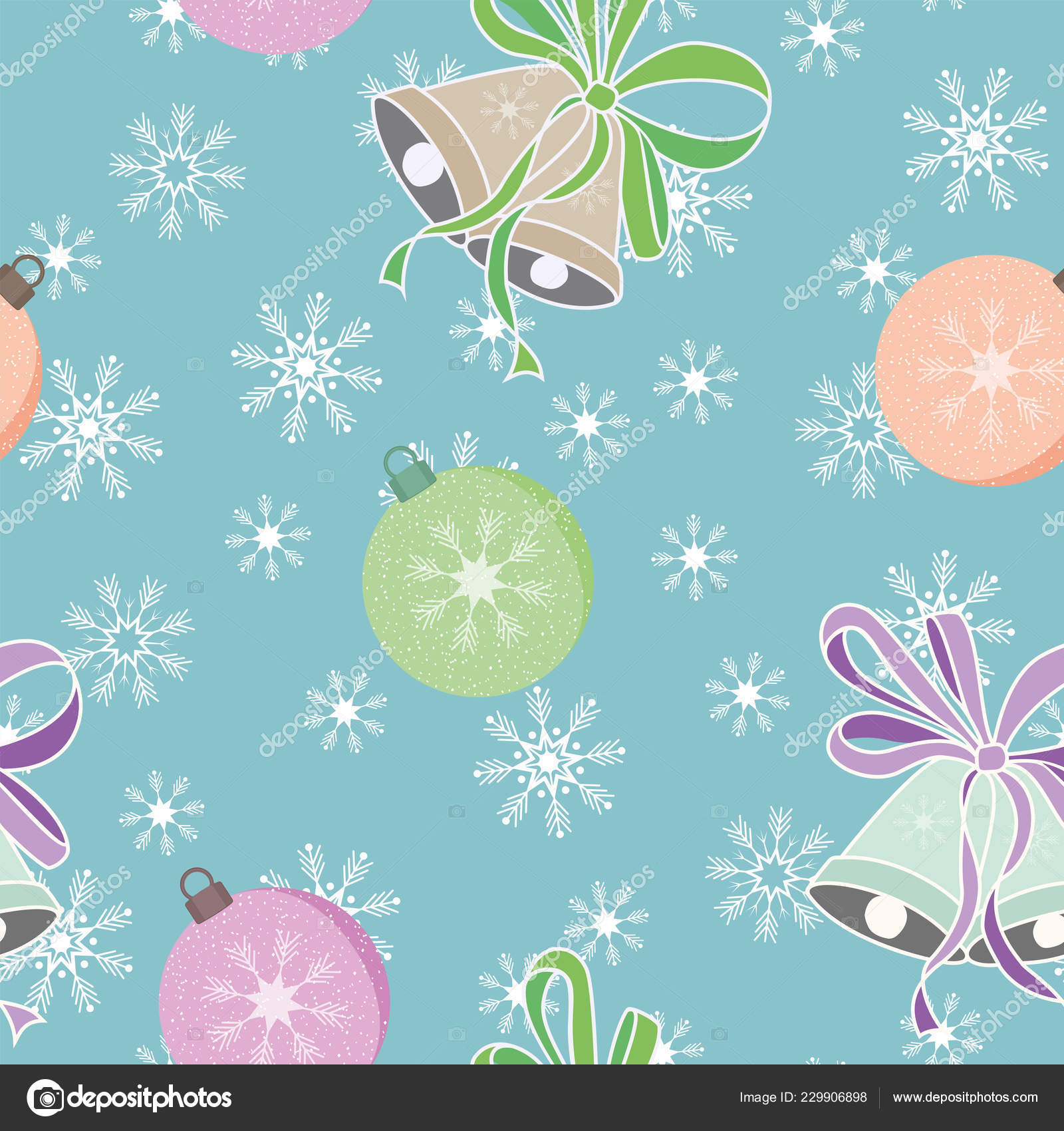 depositphotos 229906898 stock illustration christmas milticolor balls bells seamless