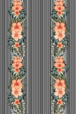Vertical poster flowers leaves striped background