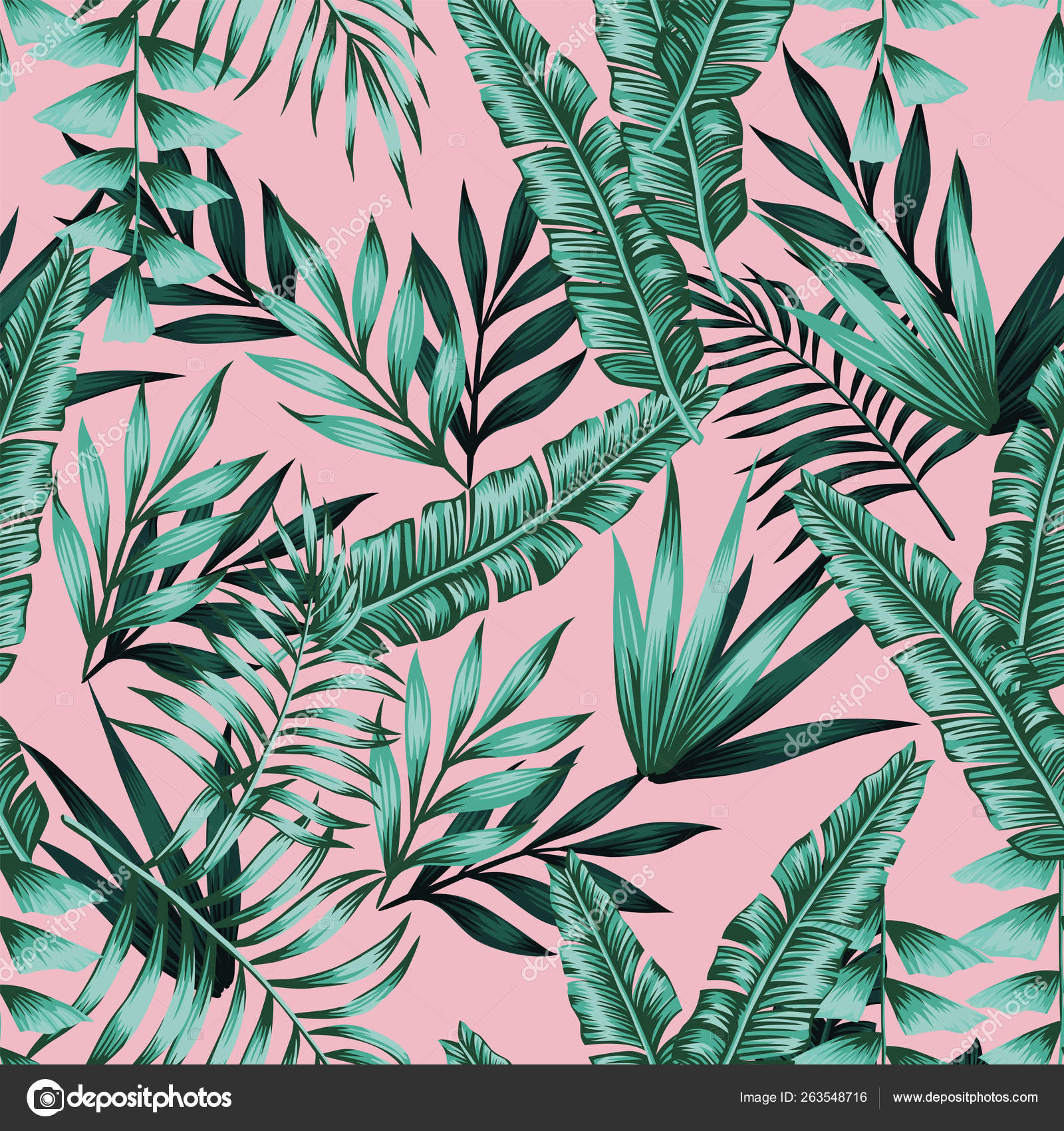 Exotic Green Tropical Leaves Seamless Pattern Pink Background Stock Vector C Berry2046 263548716 Top view of white, pink and blue paper cut palm leaves and coconut half on pink background, panoramic shot. exotic green tropical leaves seamless pattern pink background stock vector c berry2046 263548716