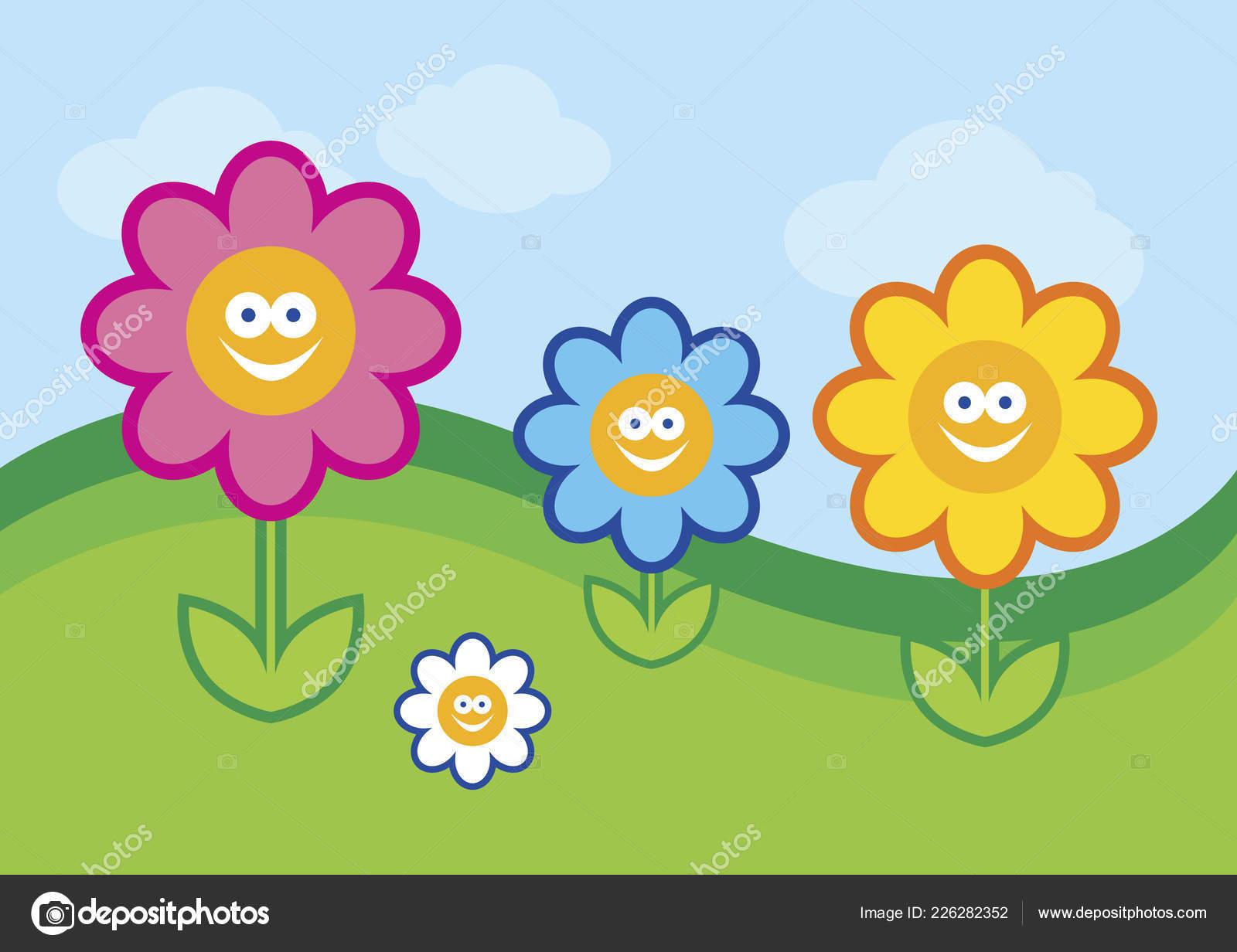 Ilustración Vectorial Flor Divertido Personaje Dibujos