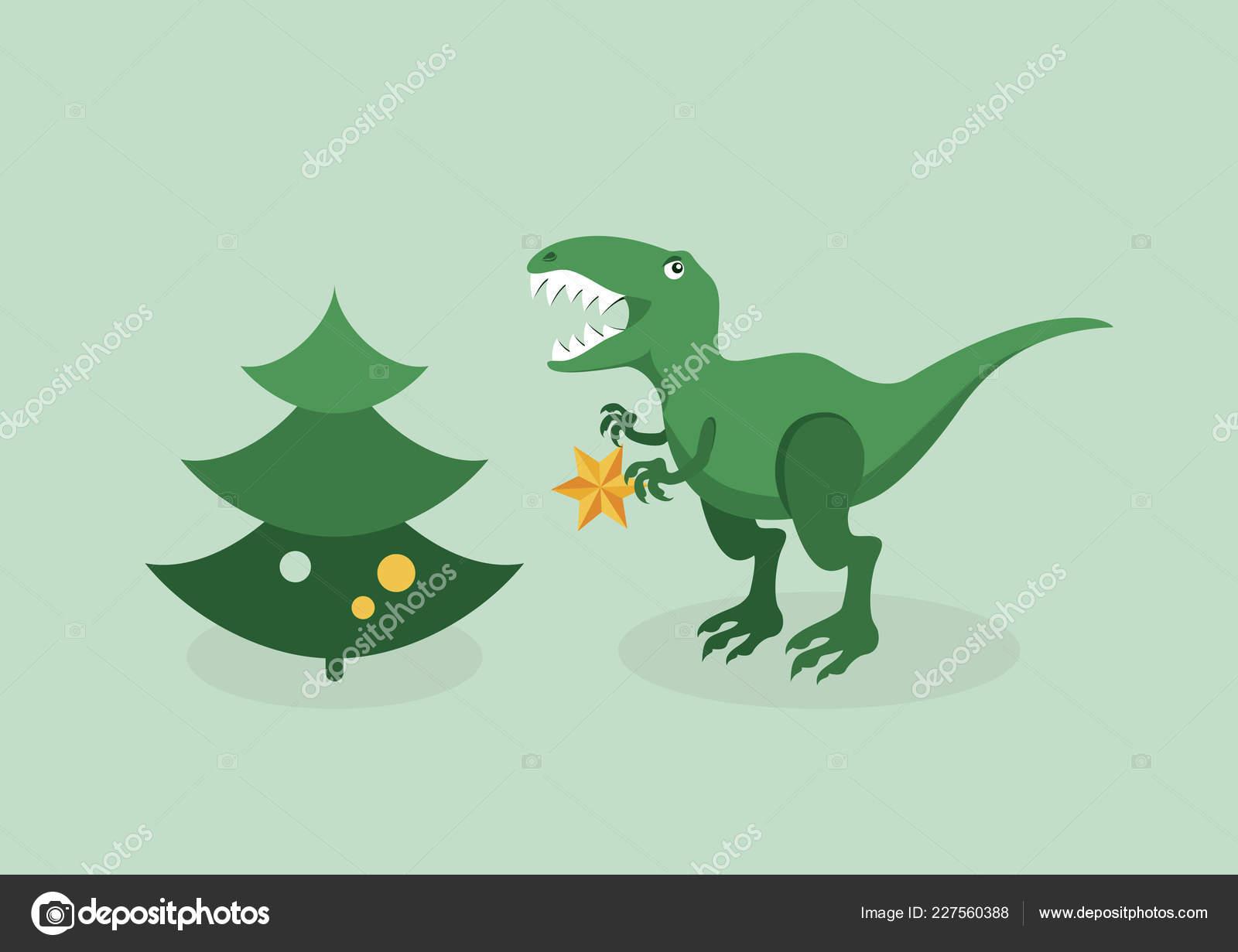 T Rex Christmas.Rex Christmas Trouble Vector Tyrannosaurus Christmas Tree