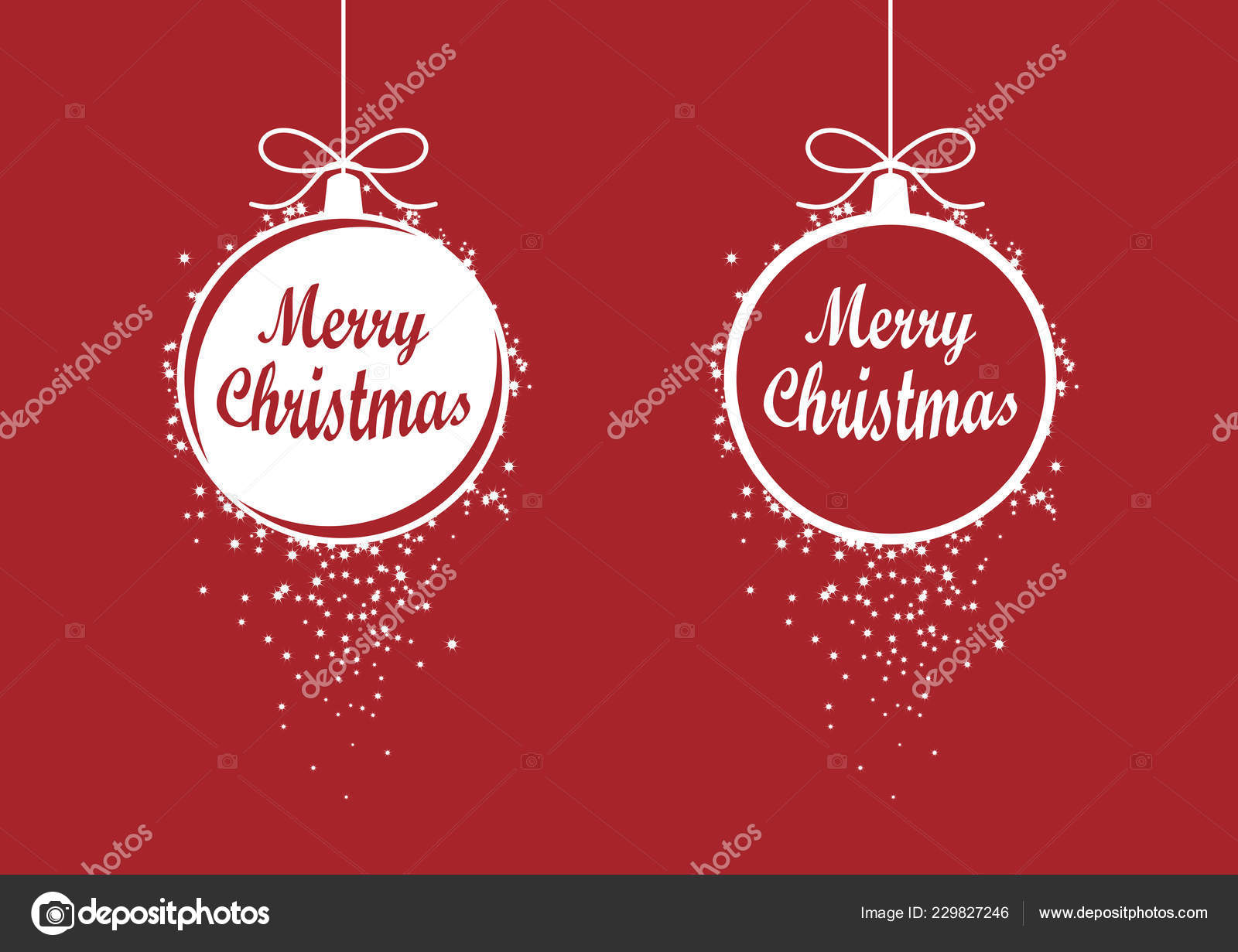Christmas Ornaments Vector.Merry Christmas Red Ornaments Vector Holiday Background