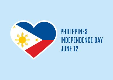 Philippines Independence Day vector. Philippines flag heart shape vector. Philippines Independence Day Poster, June 12. Important day