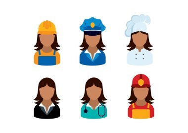 Professional african women occupation icon set vector. Female worker icon set. Firewomen, doctor, lawyer, policewoman, chef and woman worker vector. African american women employment icon set vector icon