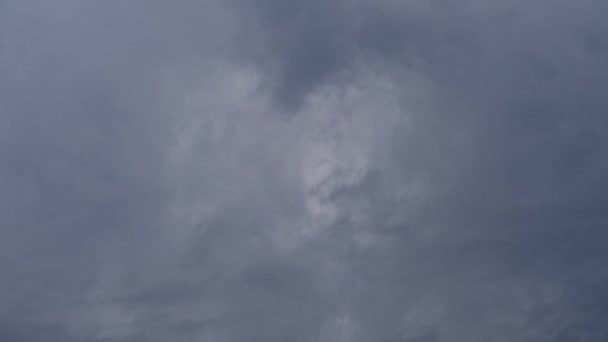 Dark rain clouds move across the screen diagonally from left to right close up