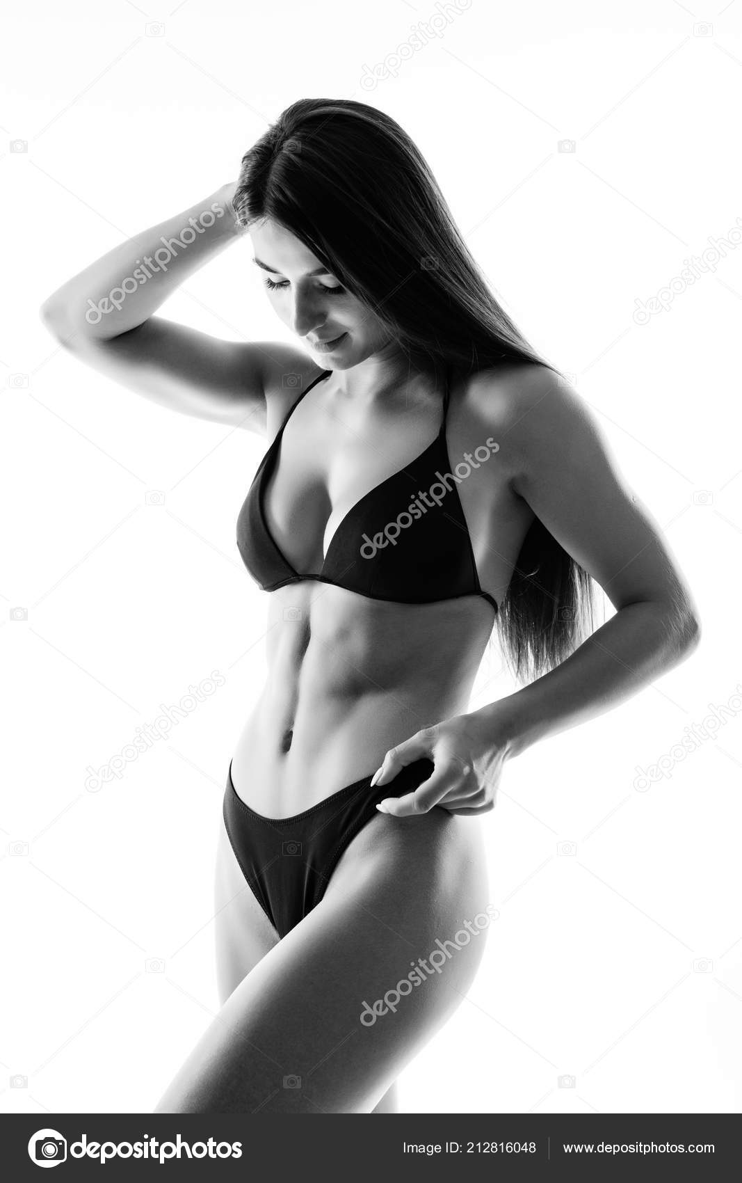 Beautiful Female Body Isolated White Sexy Young Woman Black