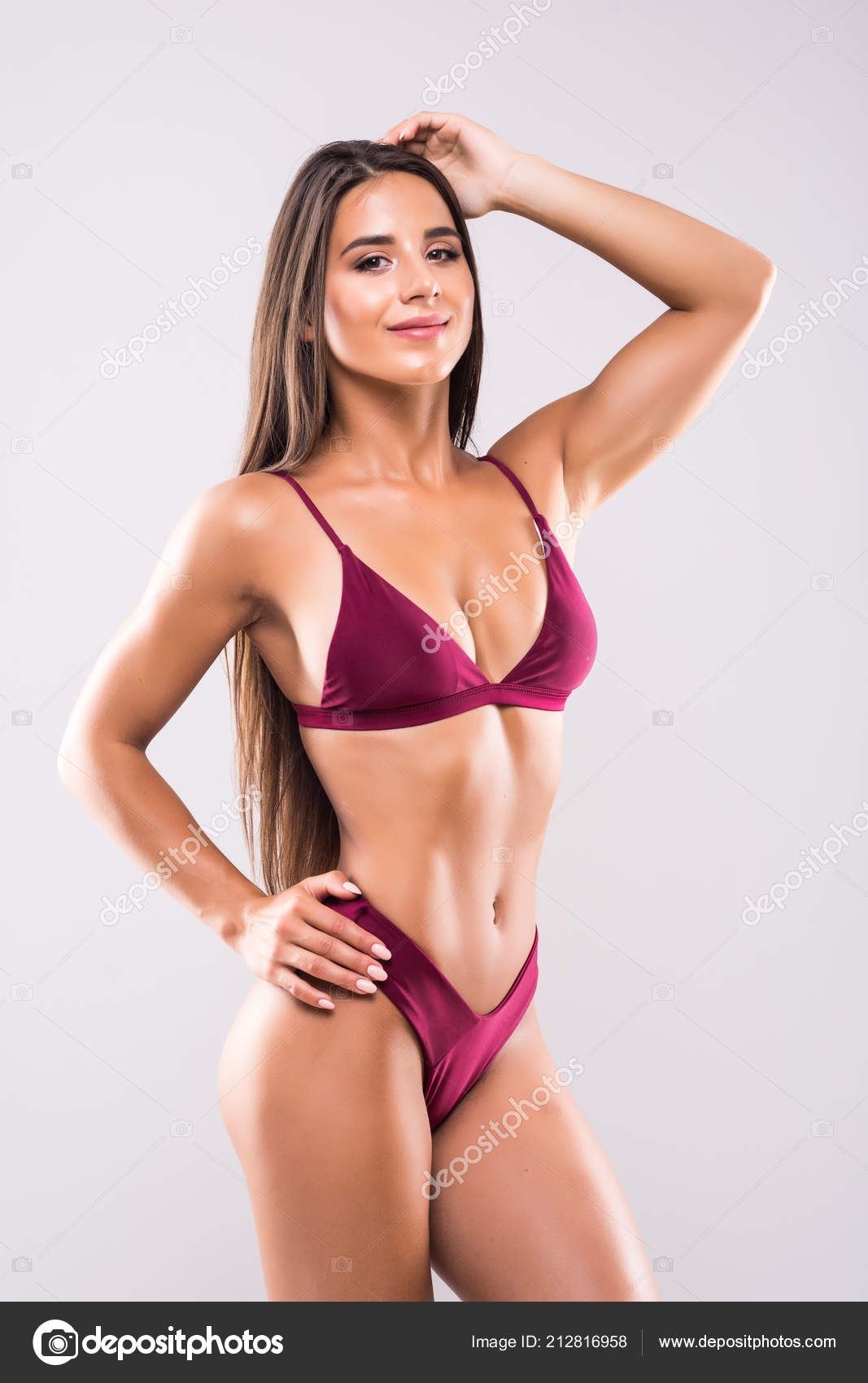ef98a460d9 Young Woman Beautiful Slim Perfect Body Bikini White Background — Stock  Photo