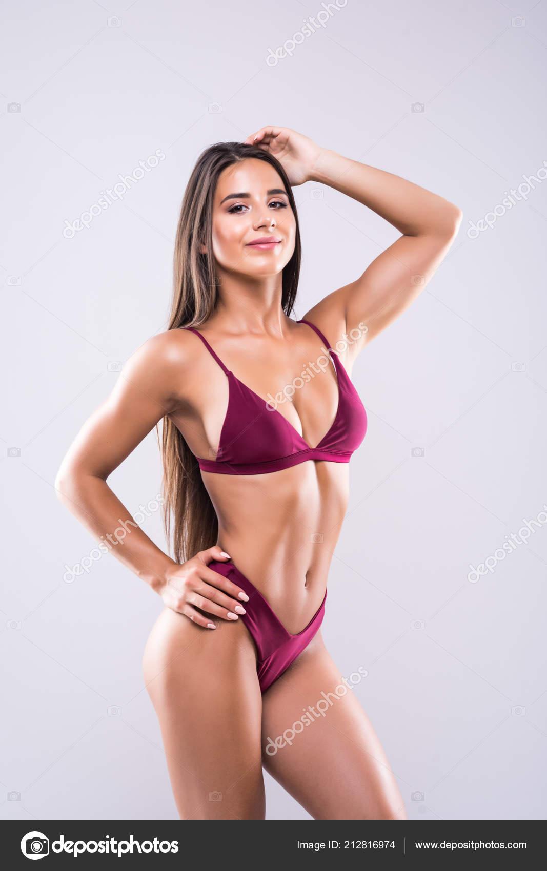 Pretty Tanned Woman Bikini Isolated White Background Close ...