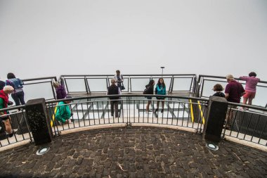 July, 2018 - Madeira, Portugal. The Cabo Girao Skywalk - the highest cliff skywalk in Europe, located on top of the cabo Girao Cliff on Madeira Island. Portugal