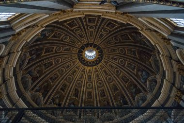 VATICAN CITY, VATICAN - NOVEMBER, 2018: The St. Peter's basilica is seen from inside in Vatican City, Vatican. Thousands visit the largest temple of the World every day.