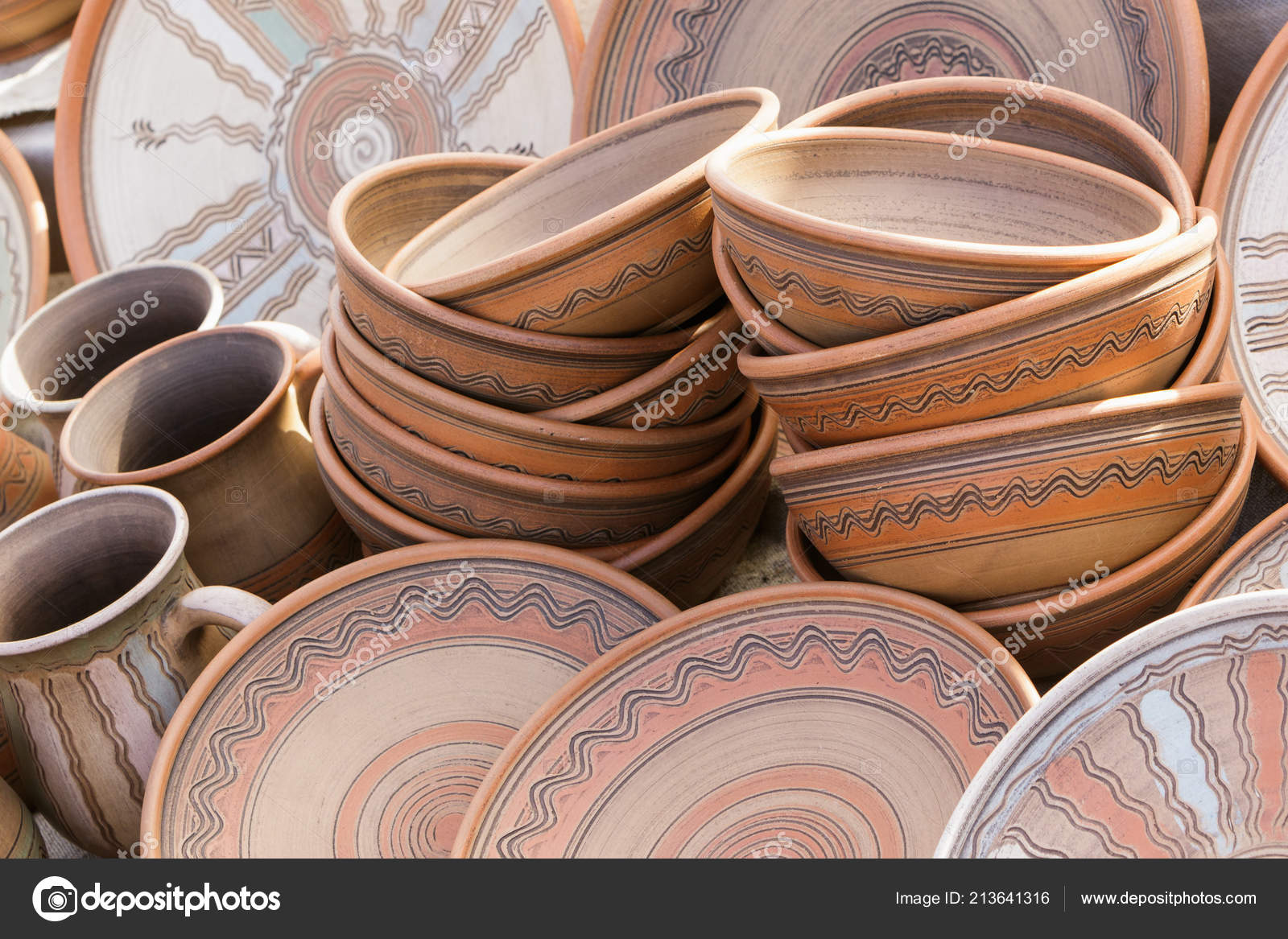Ceramic Clay Plates Cups — Stock Photo © fotogray #6