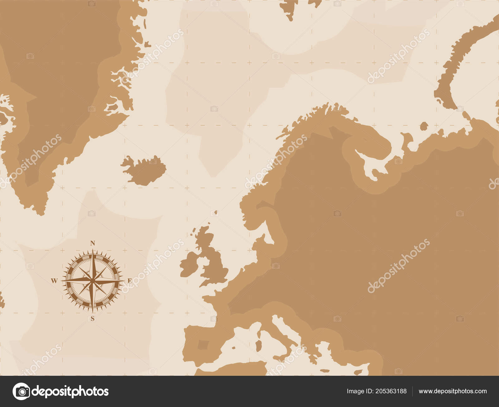 Brown Retro World Map Compass Flat Vector Illustration Eps10 Stock