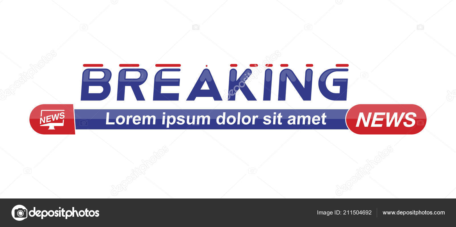 Breaking News Template Title Shadow White Background Screen Channel