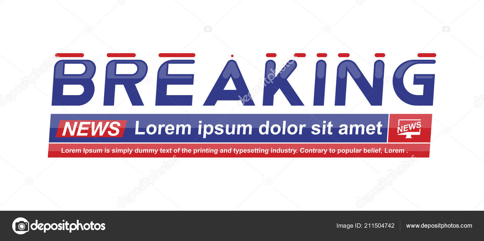 Breaking News Template Title Shadow White Background Screen