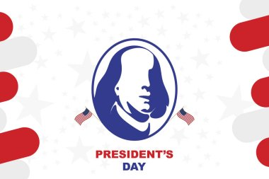 Happy Presidents Day of USA. Template design element with portrait of the president and USA flag