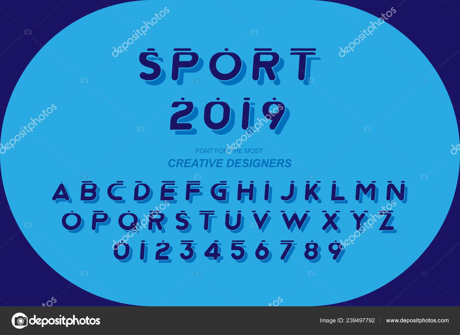 307e21046 Esporte original fonte em negrito alfabeto letras e números de modelo de  design criativo para o logotipo. Ilustração plana Eps10 — Vetor de ...