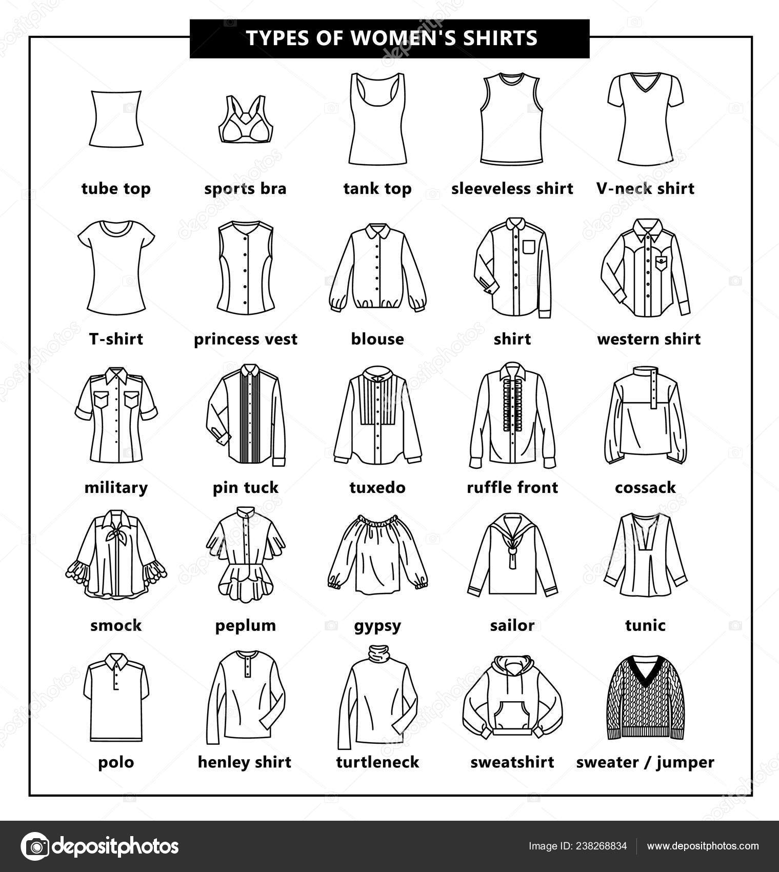 disponibilità nel Regno Unito 5dfad 4b544 Tipi di camicie donna — Vettoriali Stock © Lazuin.gmail.com ...