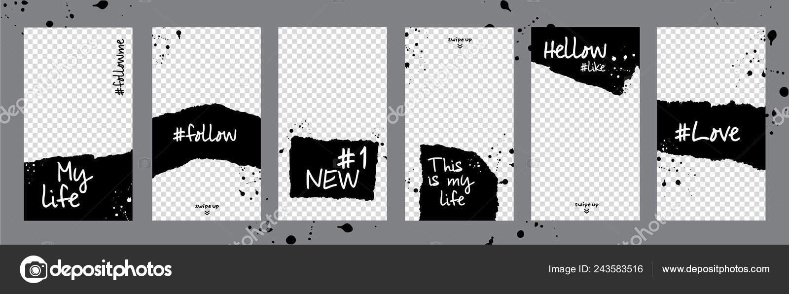 512eda819bb Set black and white photo frames. Mockup for photo isolated on transparent  background. Love. Like. Follow me. Editable torn paper design. Lifestyle  concept.