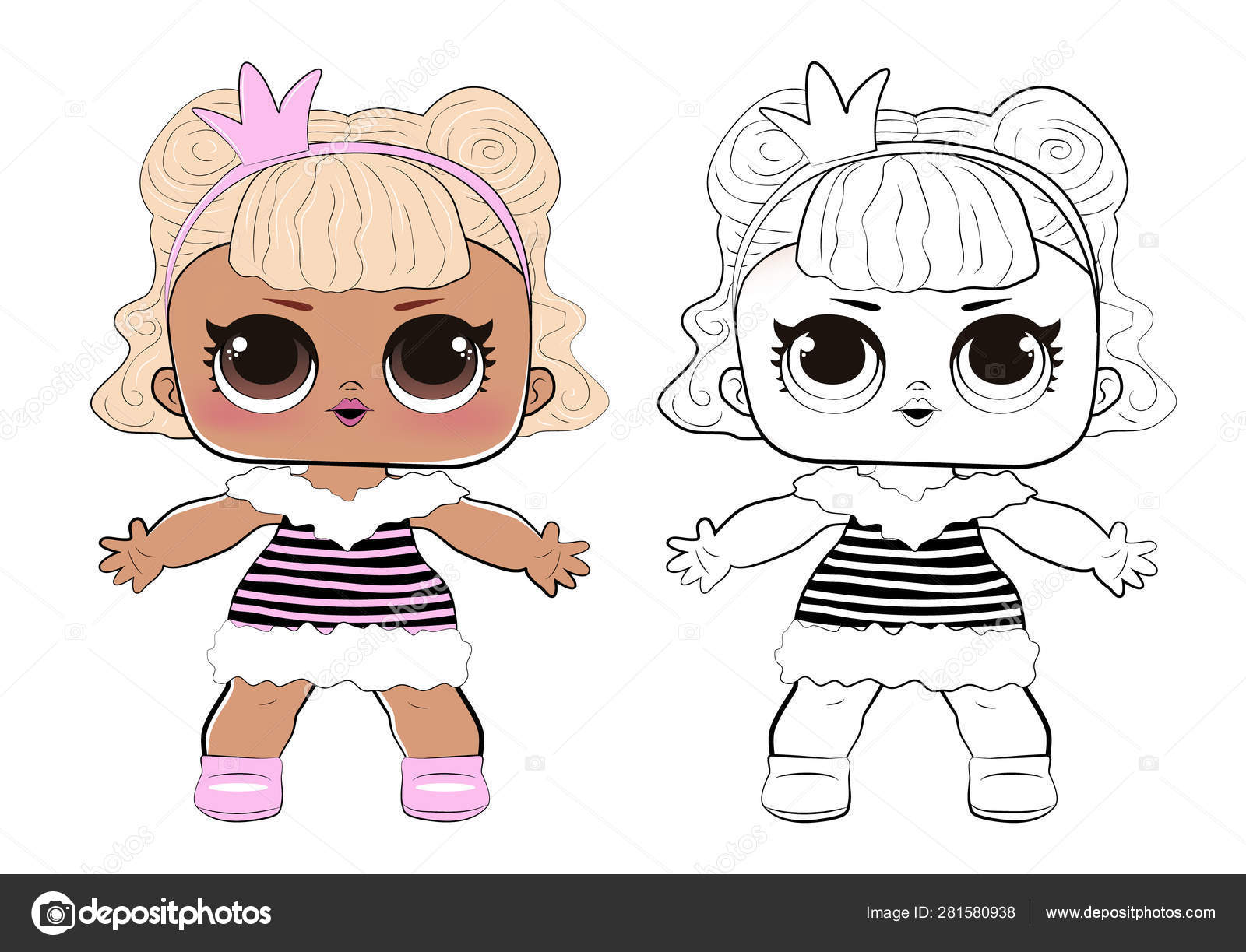 Line Art Cute Girl Lol Outline Image For Coloring Book Doll