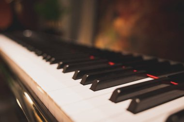 Close-up keyboard of a piano in romantic classic atmosphere, depth of field effect. Acoustic music instrument, pianist, song artist composer, hobby, musical education, or wedding event concept