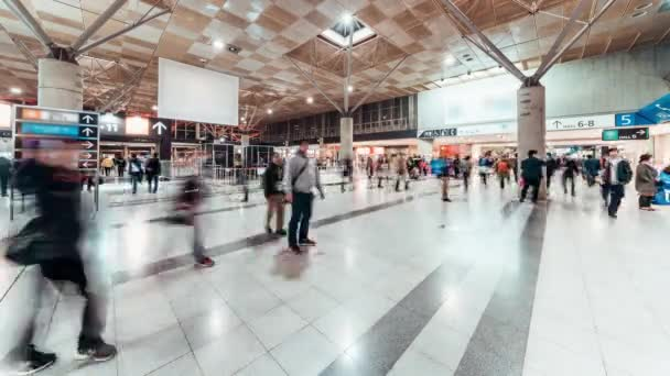 4k Uhd Časosběr z plno lidí, kteří jdou na výstavní síň vchodu. Mezinárodní veletrh expo událost, komerční obchodní činnosti nebo obchodní veletrh koncept