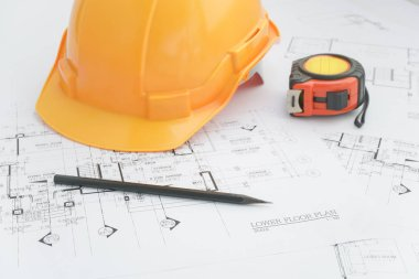 Architects workplace - architectural tools, blueprints, helmet, measuring tape, Construction concept. Engineering tools. Top view stock vector