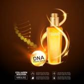Szérum kollagén és vitaminok szépség háttér koncepció vektor bőr ellátás kozmetikai termékek.